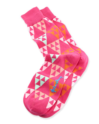 Triangles Men's Socks, Pink