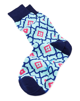 Lattice Floral Men's Socks, Teal