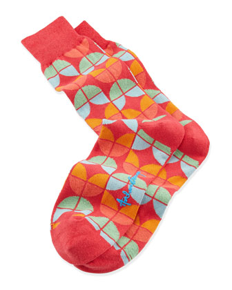Petals Men's Socks, Red