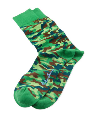 Camo II Men's Socks, Green