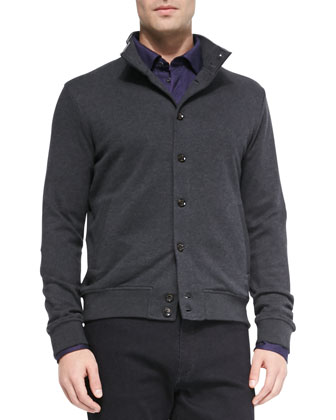 Button-Up Cardigan Sweater, Charcoal