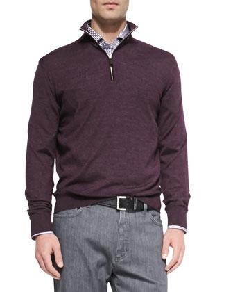 Deerskin Leather Safari Jacket with Fur Collar, 1/4-Zip Pullover Sweater, ...