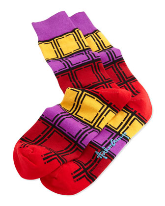 Men's Rectangle-Pattern Knit Socks