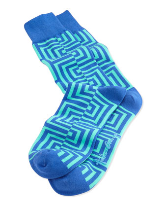 Men's Maze-Pattern Knit Socks, Blue