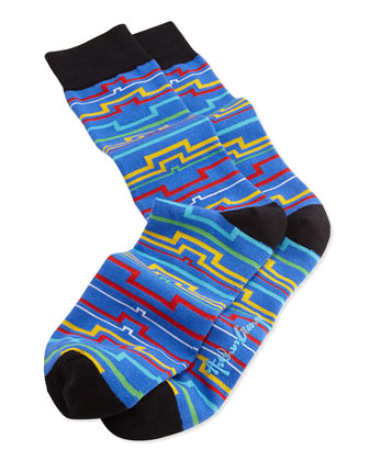Men's Geometric-Line Pattern Knit Socks, Blue