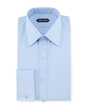 Slim-Fit French Cuff Dress Shirt, Blue