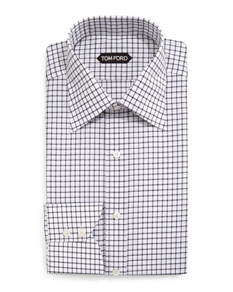 Windowpane-Pattern Silk Dress Shirt, Black/White