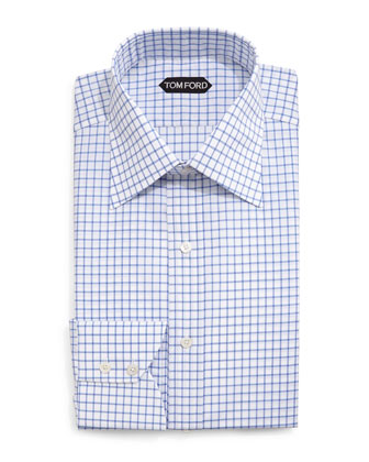 Windowpane-Pattern Silk Dress Shirt, Blue/White