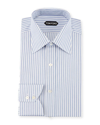 Striped Barrel Cuff Dress Shirt, Blue/White