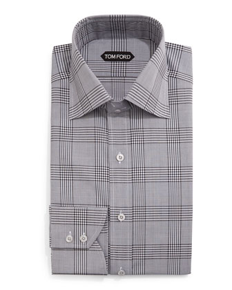 Prince of Wales Check Dress Shirt, Black/White
