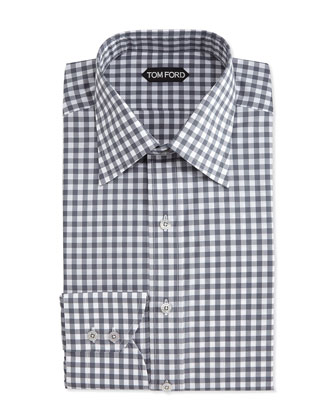 Check-Pattern Silk Dress Shirt, Gray