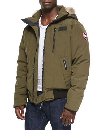 Borden Zip Bomber Jacket with Fur-Trim Hood, Olive