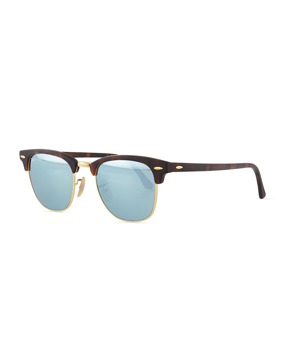 Clubmaster Half-Rimmed Sunglasses, Tortoise/Silver - Ray-Ban