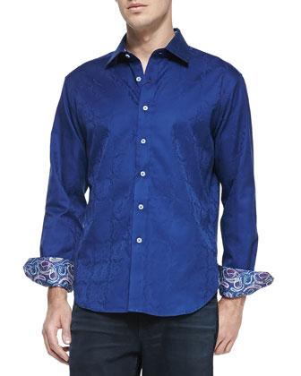 Salisbury Tonal-Jacquard Sport Shirt, Navy