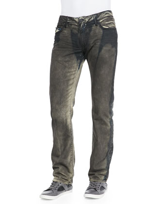 Long-Flap Graffito Denim Jeans, Olive