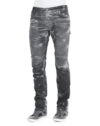 Thunder Wash Moto Jeans, Black