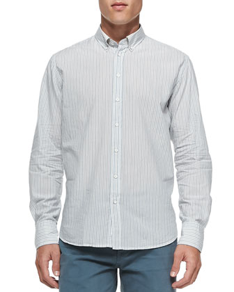 Striped Button-Down Shirt, Blue