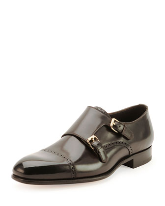 Charles Double-Monk Shoe, Black