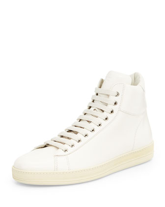 Russel Leather High-Top Sneaker, White