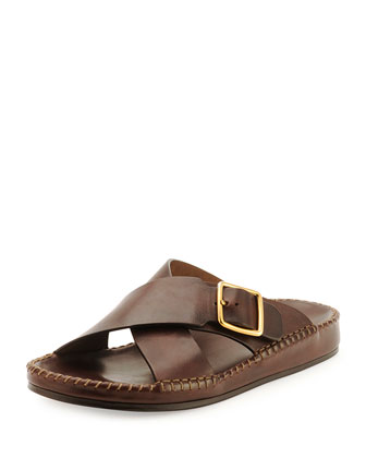 Edie Crisscross Leather Sandal, Brown