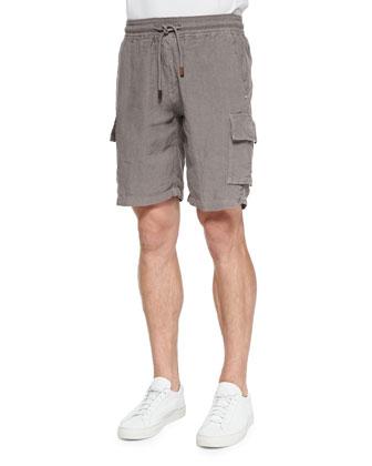Linen Cargo Shorts, Med Brown