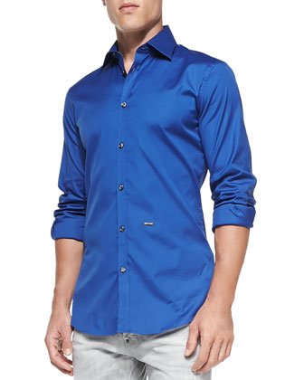 Slim Fit Solid Stretch-Poplin Button-Down Shirt, Bluette