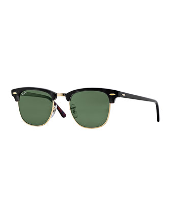 Classic Clubmaster Sunglasses, Black/Green