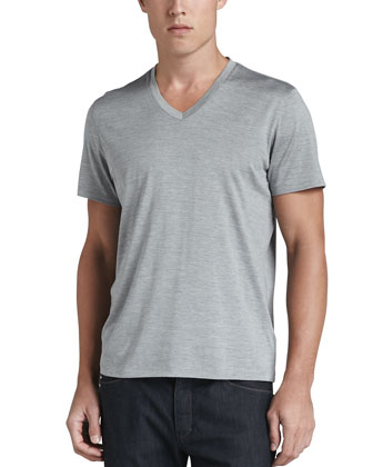 Silk/Cotton V-Neck Tee, Silver