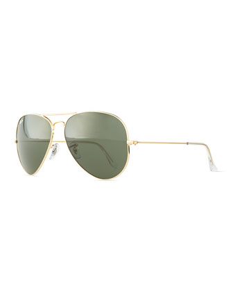 Original Aviator Sunglasses, Gold/Green