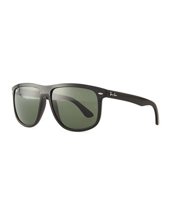 Flat Top Polarized Sunglasses, Black/Green