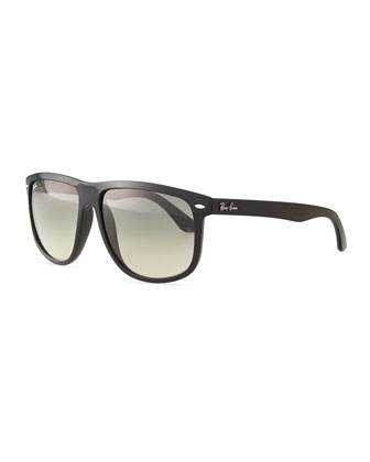 Flat-Top Gradient Sunglasses, Black