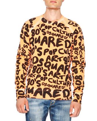80's-Script Sweatshirt, Neon Orange