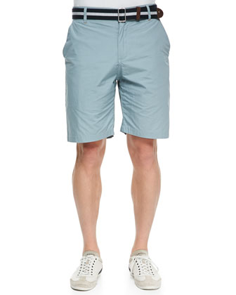 Flat Front Paper Twill Shorts, Turquoise