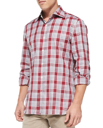 Large-Plaid Woven Shirt, Red