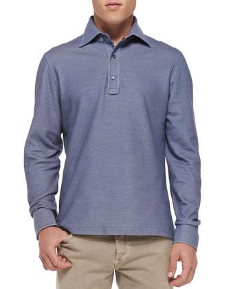 Pique Long-Sleeve Polo, Blue