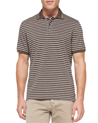 Striped Knit Polo, Brown
