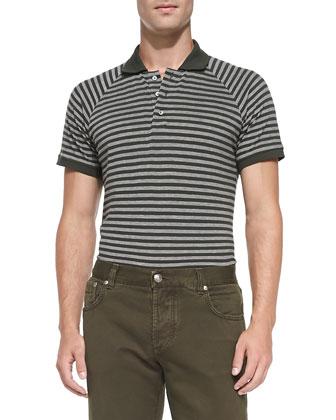 Stripe Short-Sleeve Polo, Green