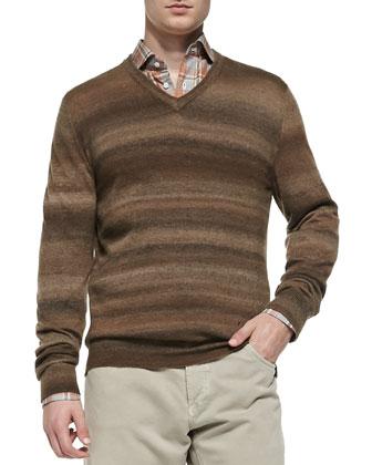 Cashmere Ombre-Stripe Sweater, Beige