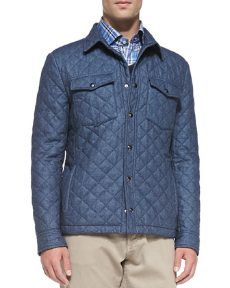Quilted Shirt Jacket, Cotton-Flannel Windowpane Shirt & Five-Pocket Cotton ...