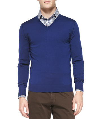 V-Neck Wool Pullover Sweater, Navy
