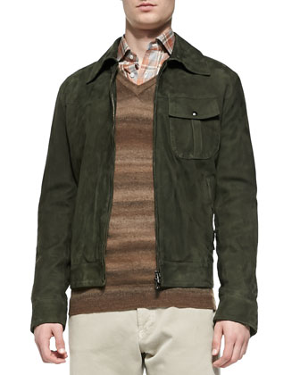 Suede Military Jacket, Green