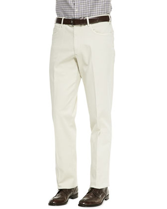 Straight-Leg Twill Trousers, Cream