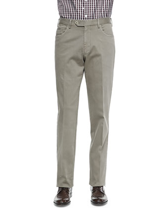 Straight-Leg Twill Trousers, Beige