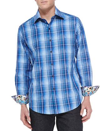 McSorley Plaid/Paisley Sport Shirt, Blue