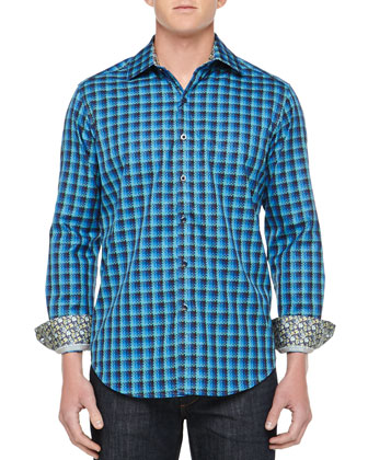 Redzone Houndstooth Sport Shirt, Royal