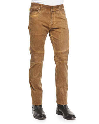 Greasy Moto-Fit Jeans, Camel