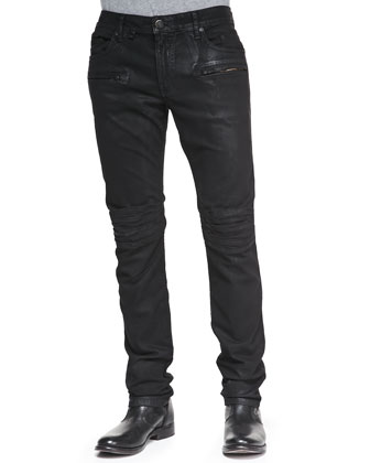 Coated Moto Skinny-Leg Jeans