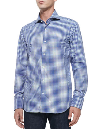 Button-Down Grid-Check Shirt, White/Blue/Navy