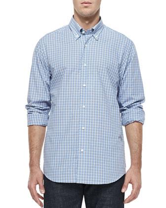 Button-Down Check Shirt, White/Blue/Gray