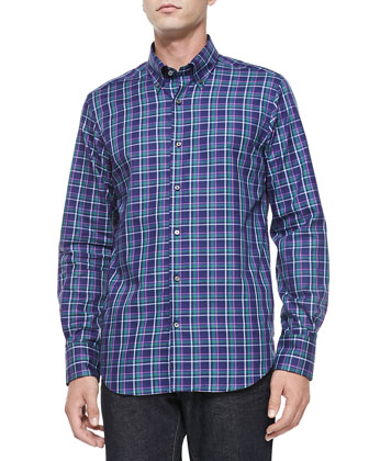 Button-Down Plaid Shirt, Navy/Purple/Green